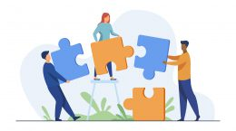 Partners holding big jigsaw puzzle pieces flat vector illustration. Successful partnership, communication and collaboration metaphor. Teamwork and business cooperation concept.